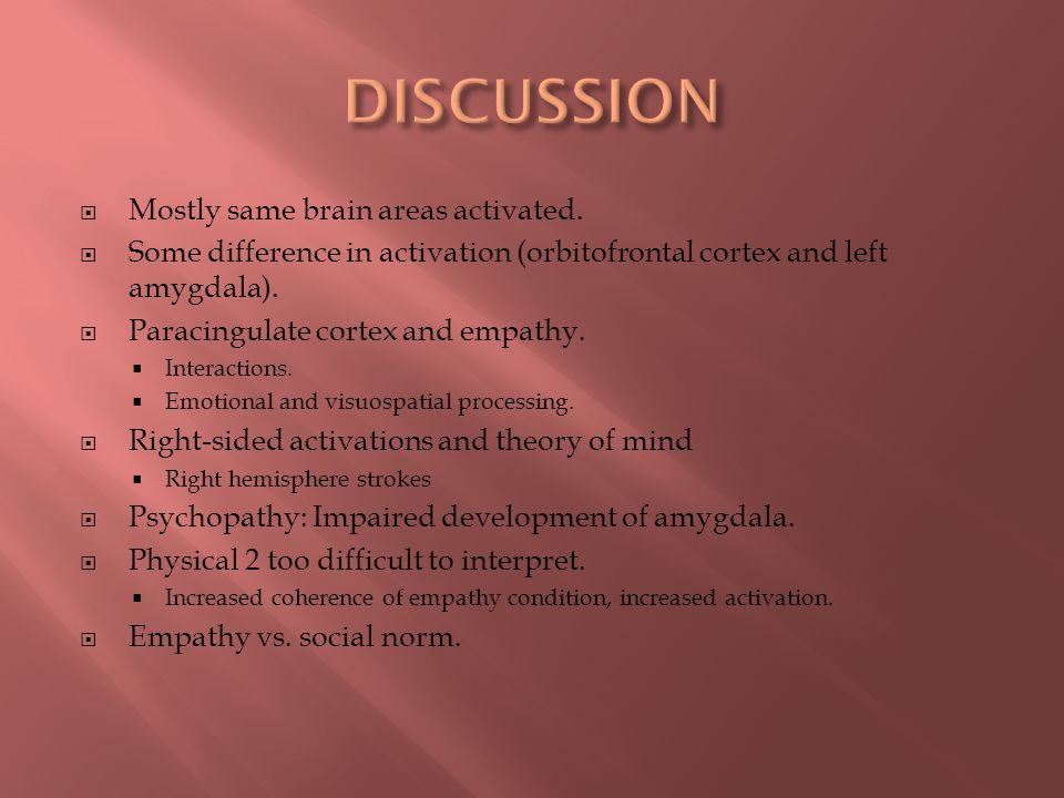 DISCUSSION Mostly same brain areas activated.