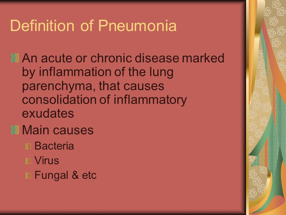 Definition of Pneumonia