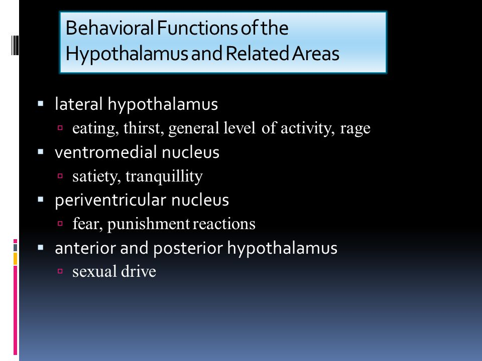 Behavioral Functions of the Hypothalamus and Related Areas