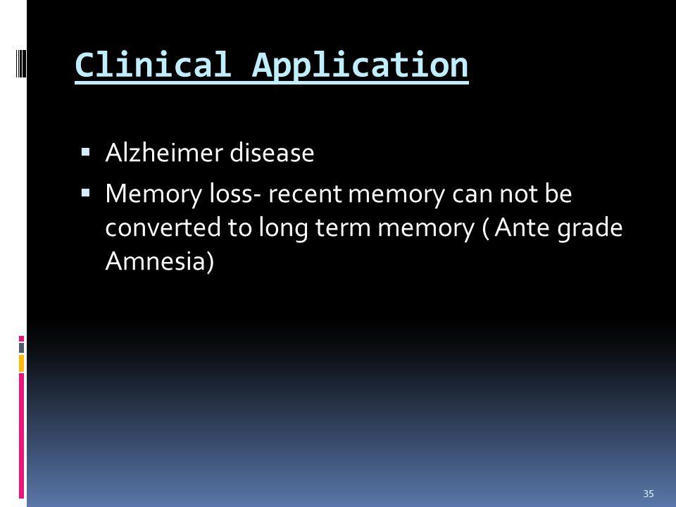 Clinical Application Alzheimer disease