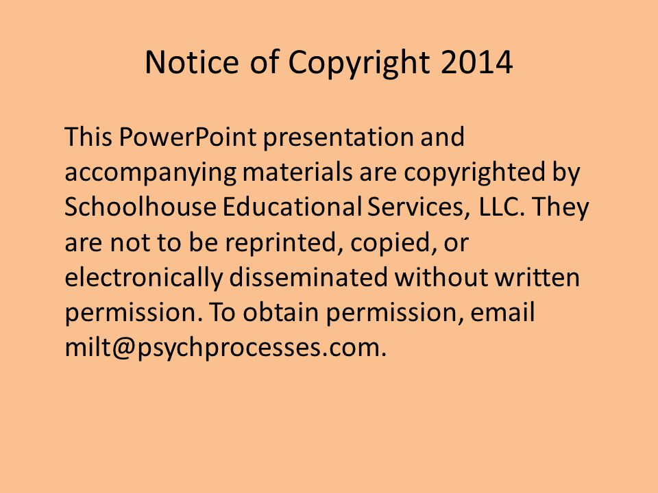 Notice of Copyright 2014