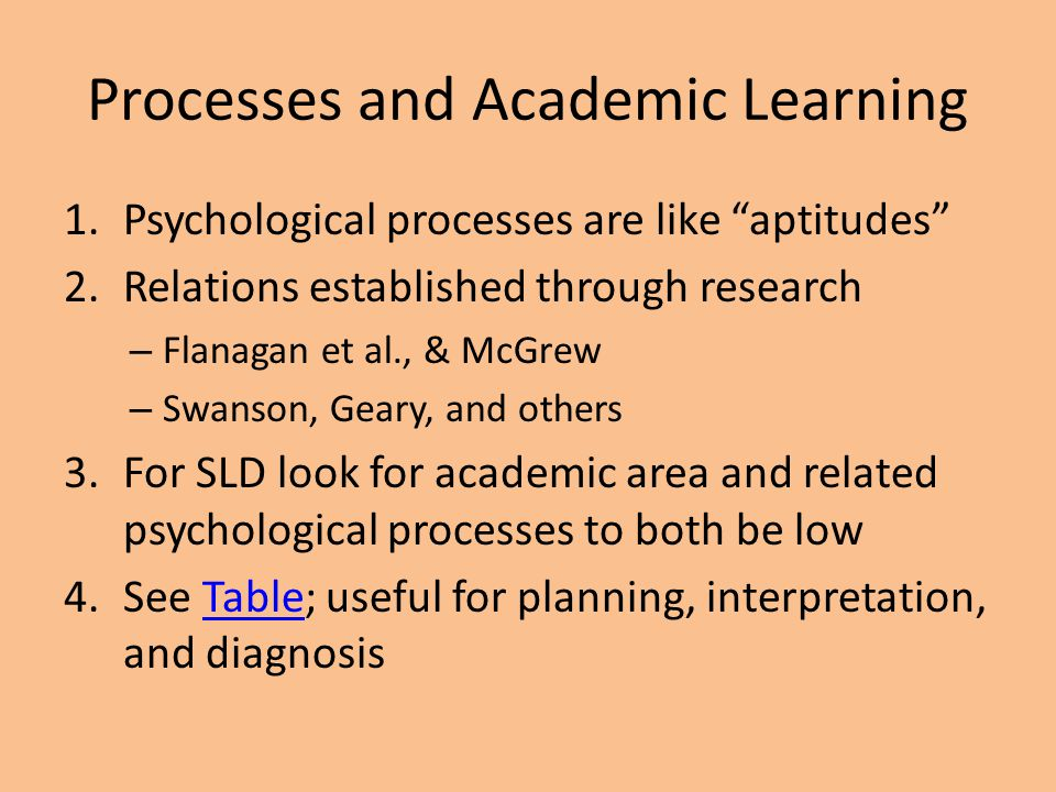 Processes and Academic Learning