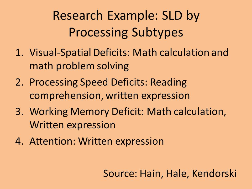 Research Example: SLD by Processing Subtypes