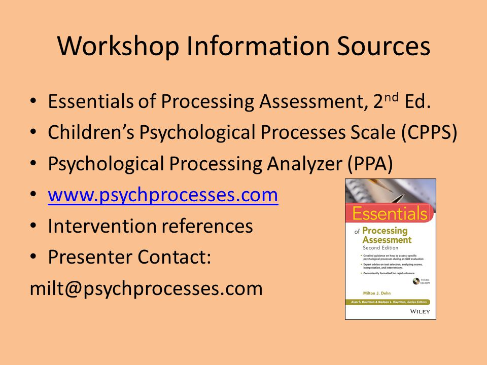 Workshop Information Sources