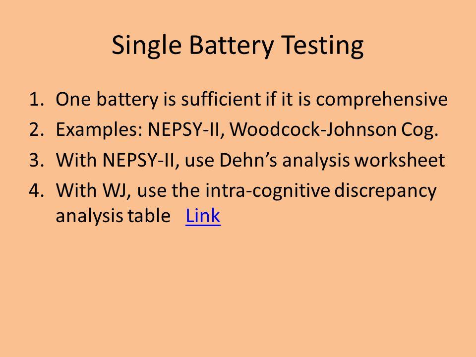 Single Battery Testing