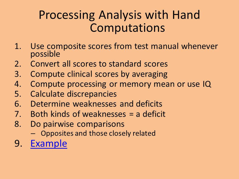 Processing Analysis with Hand Computations