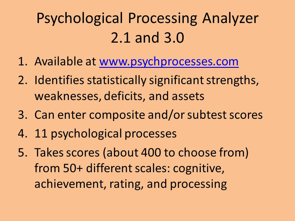 Psychological Processing Analyzer 2.1 and 3.0