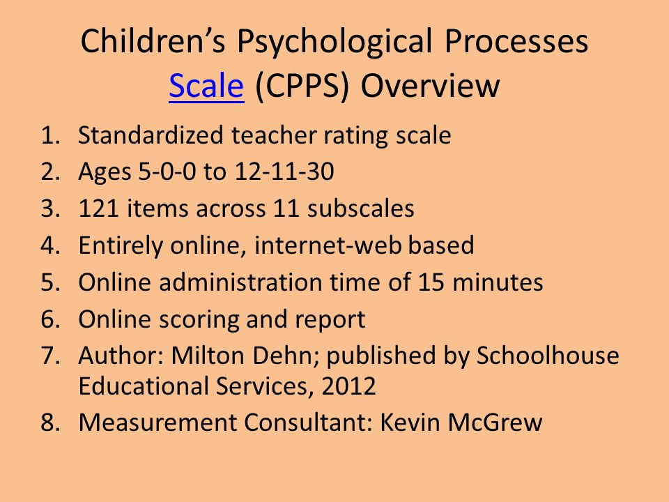 Children's Psychological Processes Scale (CPPS) Overview
