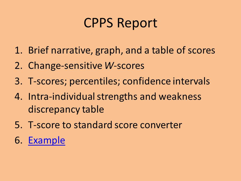 CPPS Report Brief narrative, graph, and a table of scores