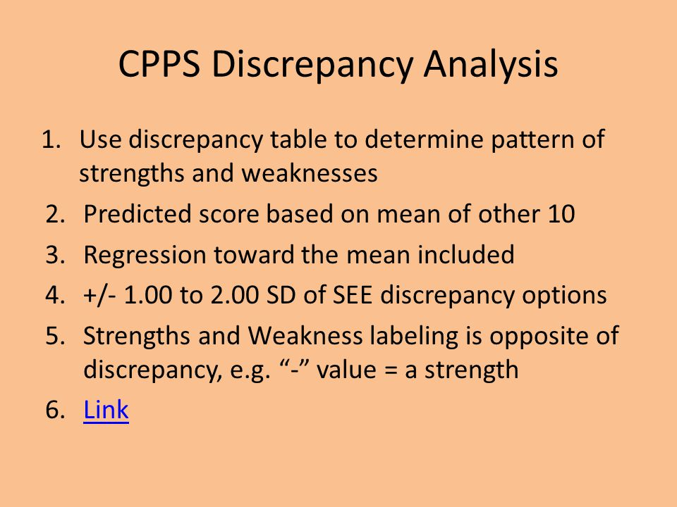CPPS Discrepancy Analysis