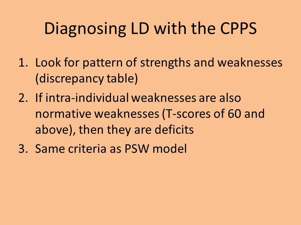 Diagnosing LD with the CPPS