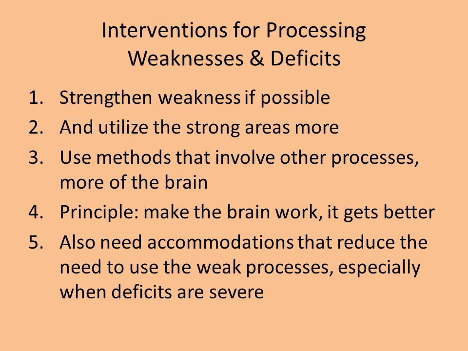 Interventions for Processing Weaknesses & Deficits