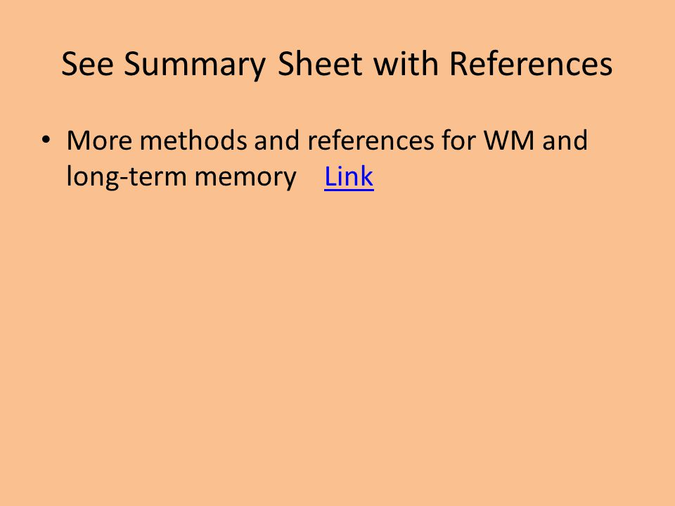 See Summary Sheet with References