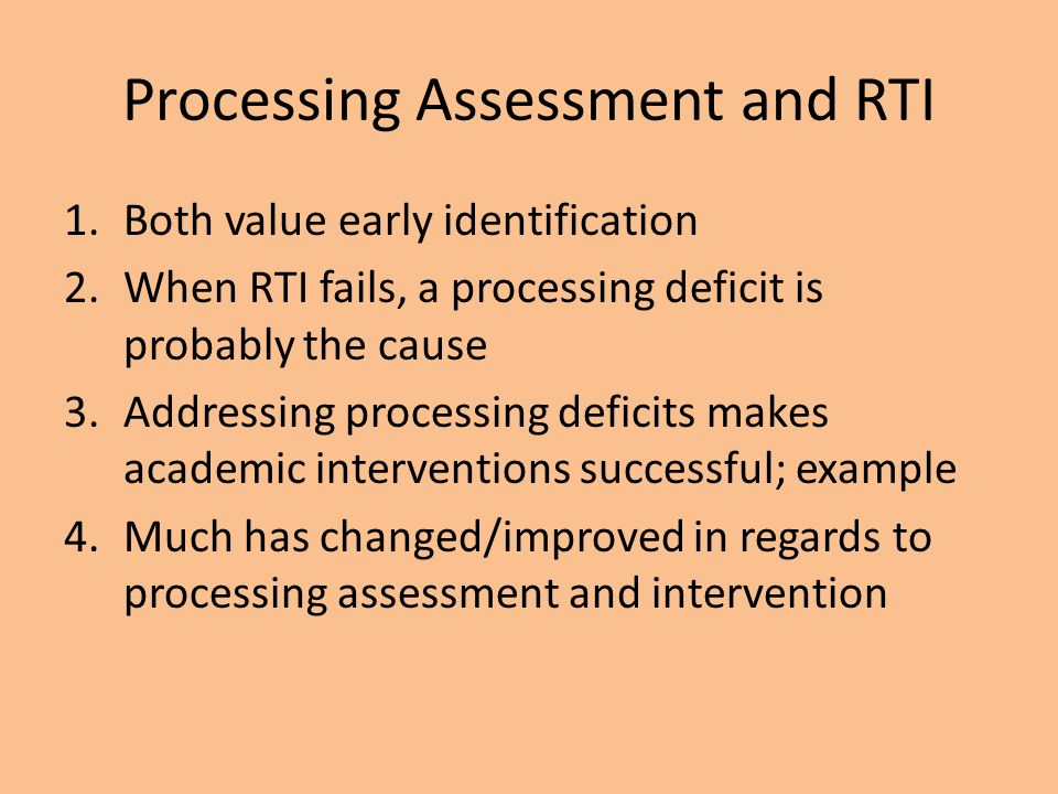 Processing Assessment and RTI