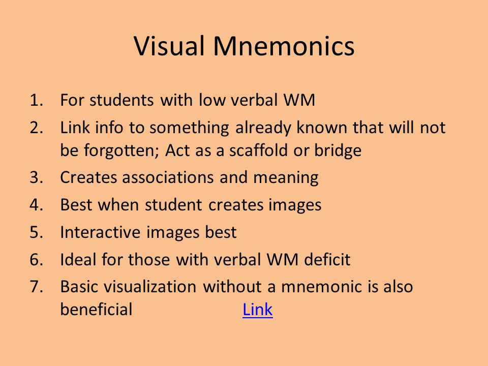 Visual Mnemonics For students with low verbal WM