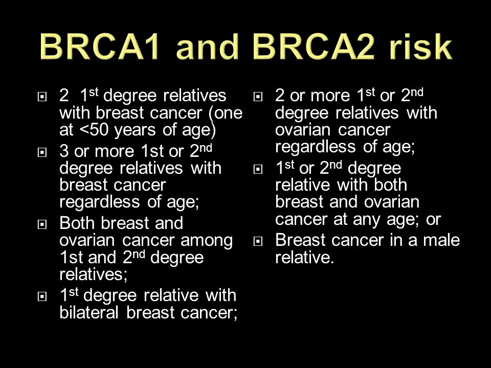 BRCA1 and BRCA2 risk 2 1st degree relatives with breast cancer (one at <50 years of age)