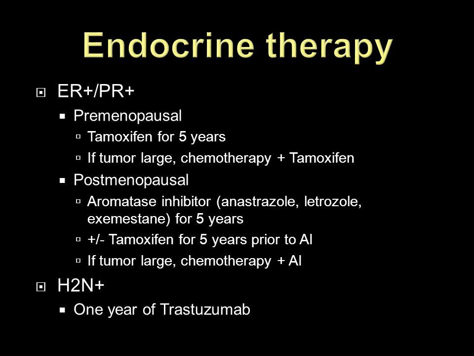 Endocrine therapy ER+/PR+ H2N+ Premenopausal Postmenopausal