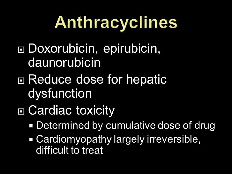 Anthracyclines Doxorubicin, epirubicin, daunorubicin