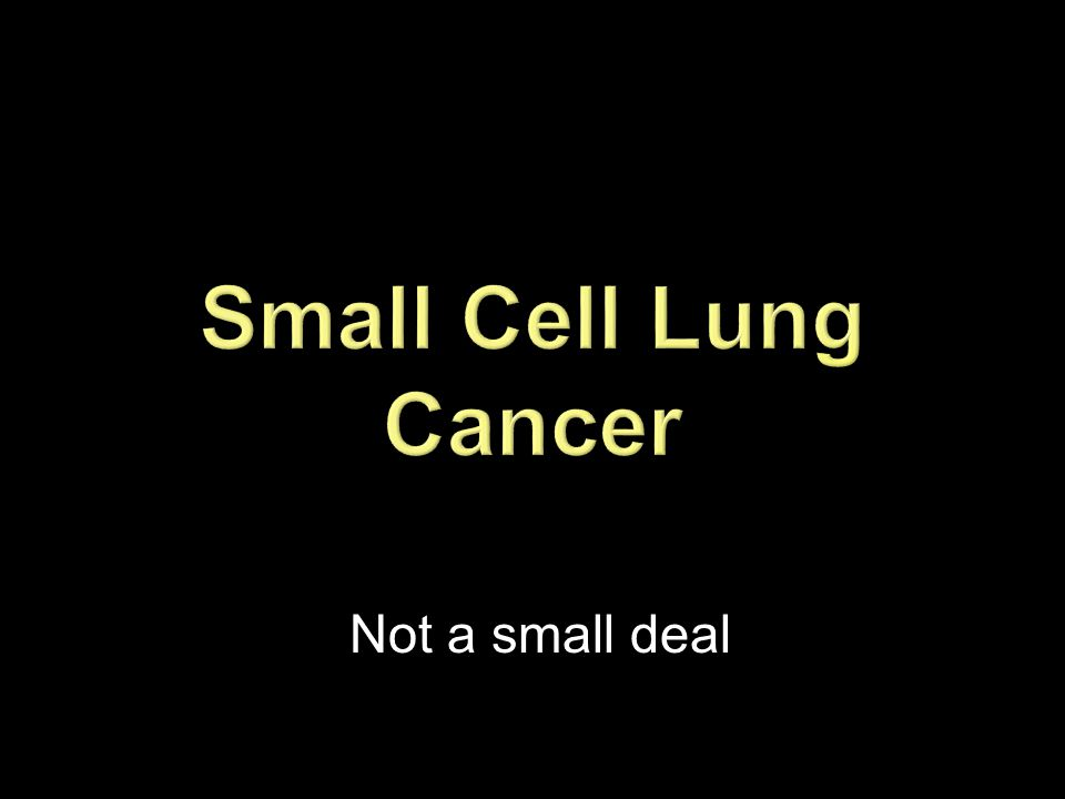 Small Cell Lung Cancer Not a small deal