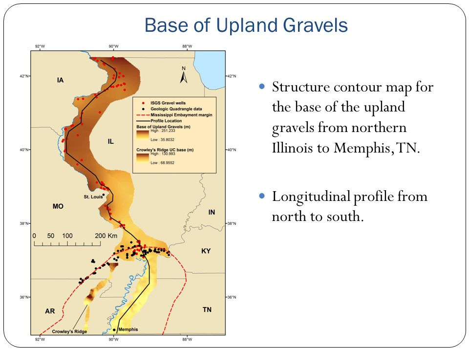 Base of Upland Gravels Structure contour map for the base of the upland gravels from northern Illinois to Memphis, TN.