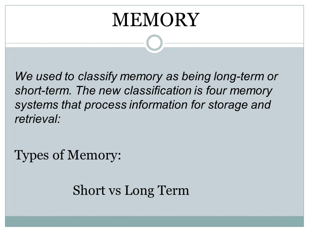 MEMORY Types of Memory: Short vs Long Term