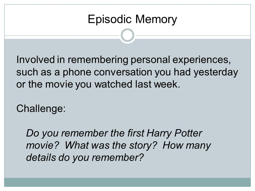 Episodic Memory Involved in remembering personal experiences, such as a phone conversation you had yesterday or the movie you watched last week.