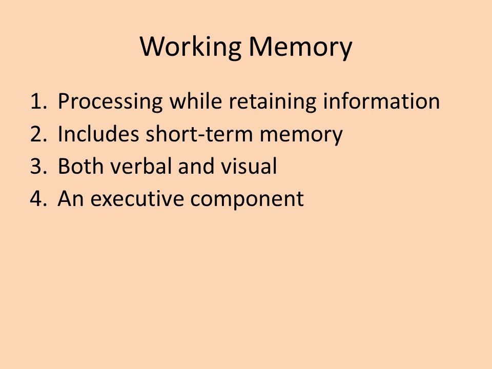 Working Memory Processing while retaining information