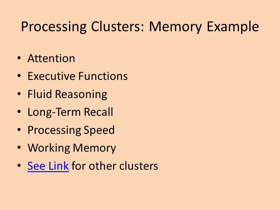 Processing Clusters: Memory Example
