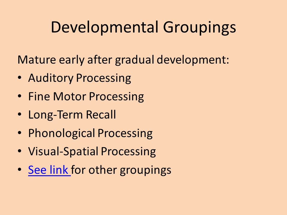 Developmental Groupings