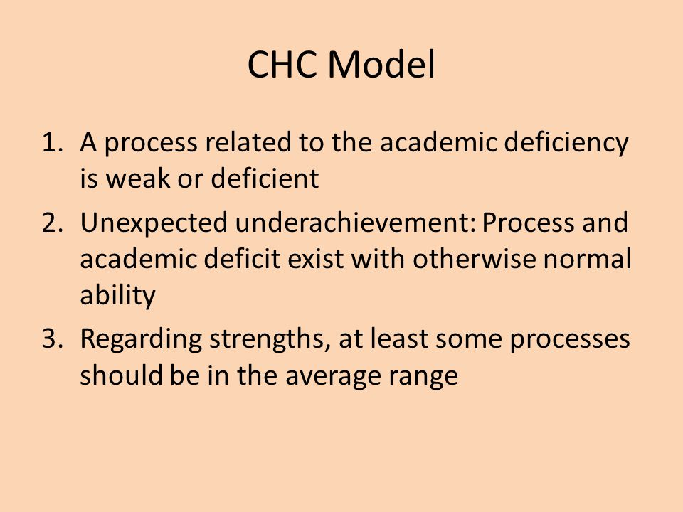 CHC Model A process related to the academic deficiency is weak or deficient.