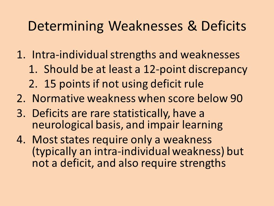 Determining Weaknesses & Deficits