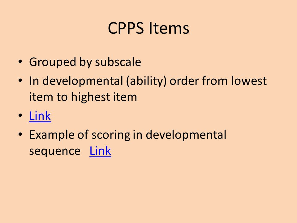 CPPS Items Grouped by subscale