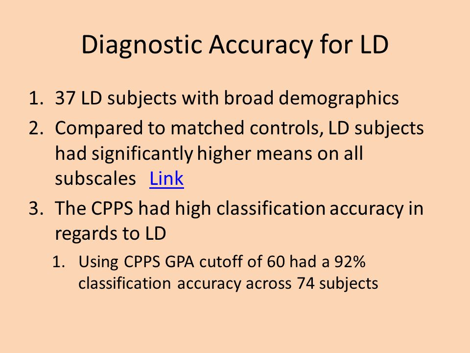 Diagnostic Accuracy for LD
