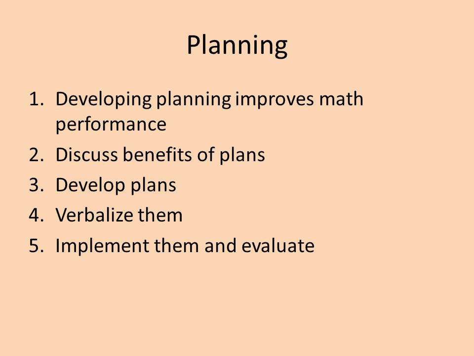 Planning Developing planning improves math performance