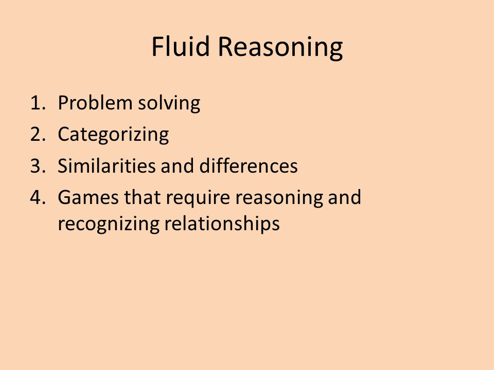 Fluid Reasoning Problem solving Categorizing