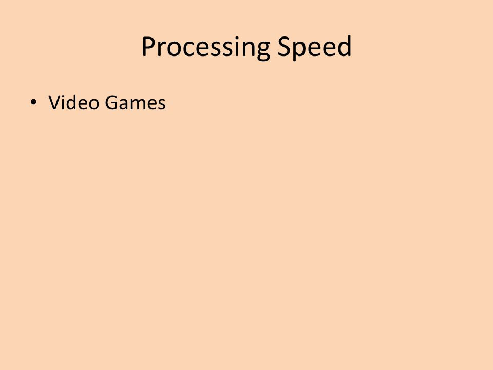 Processing Speed Video Games
