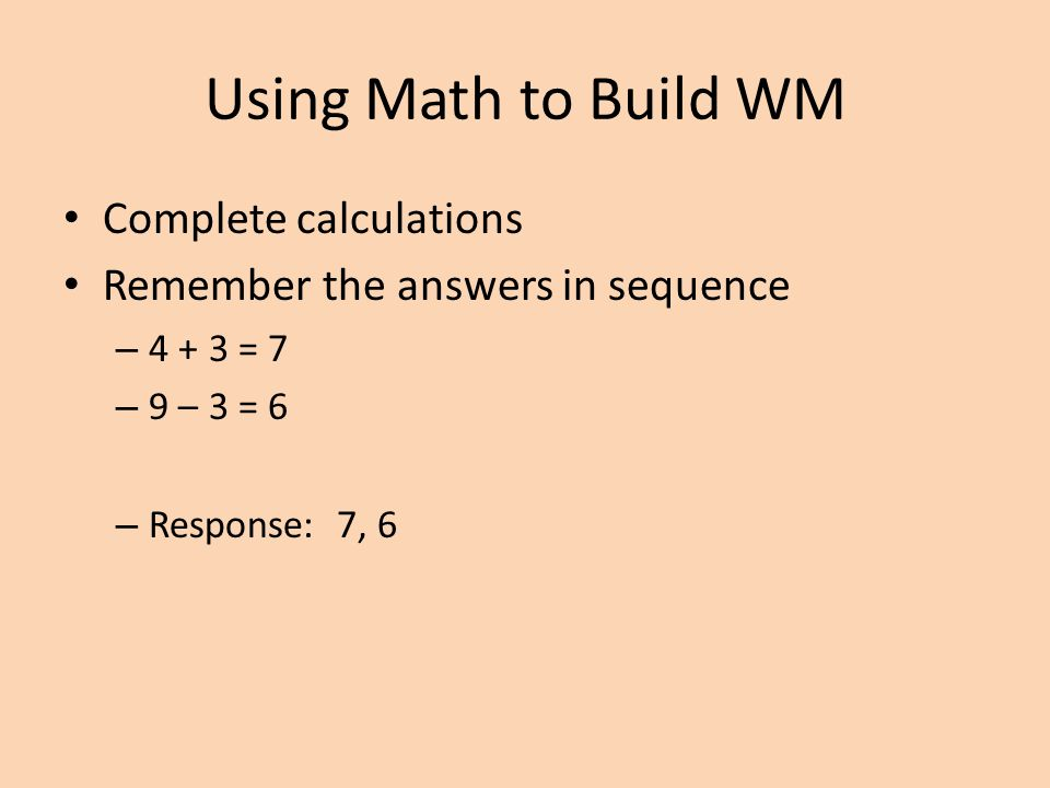 Using Math to Build WM Complete calculations