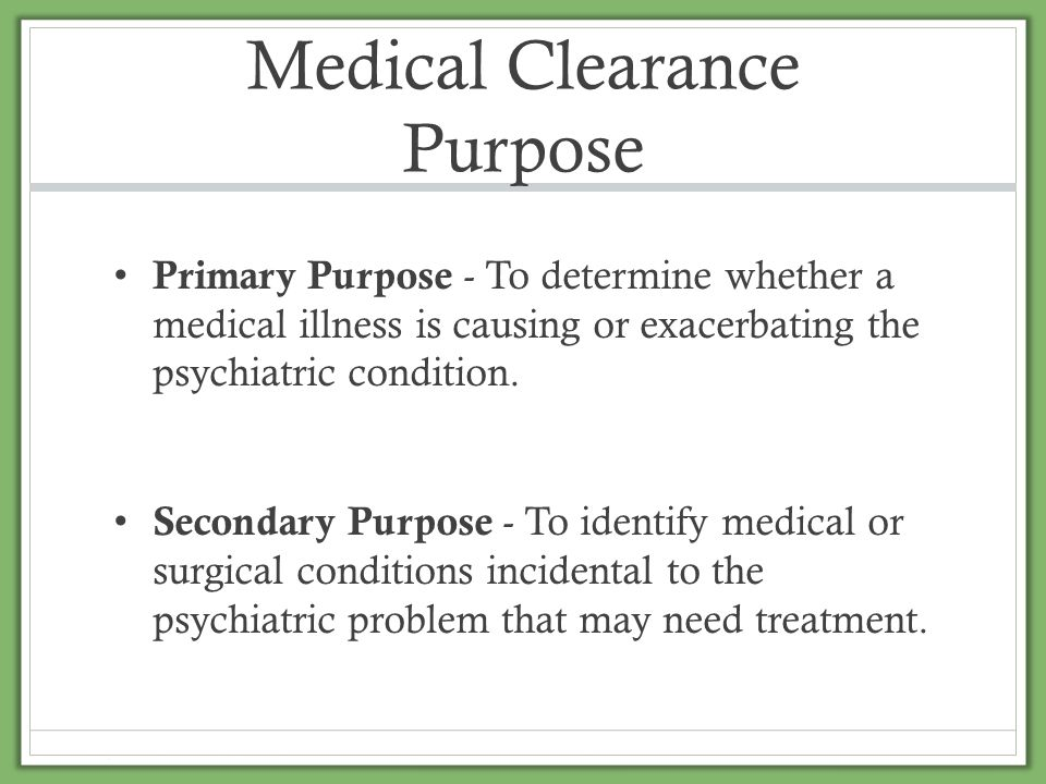 Medical Clearance Purpose