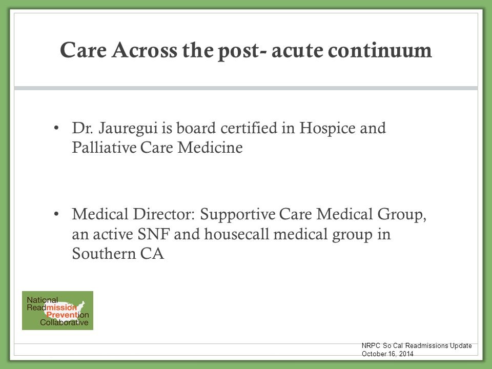 Care Across the post- acute continuum