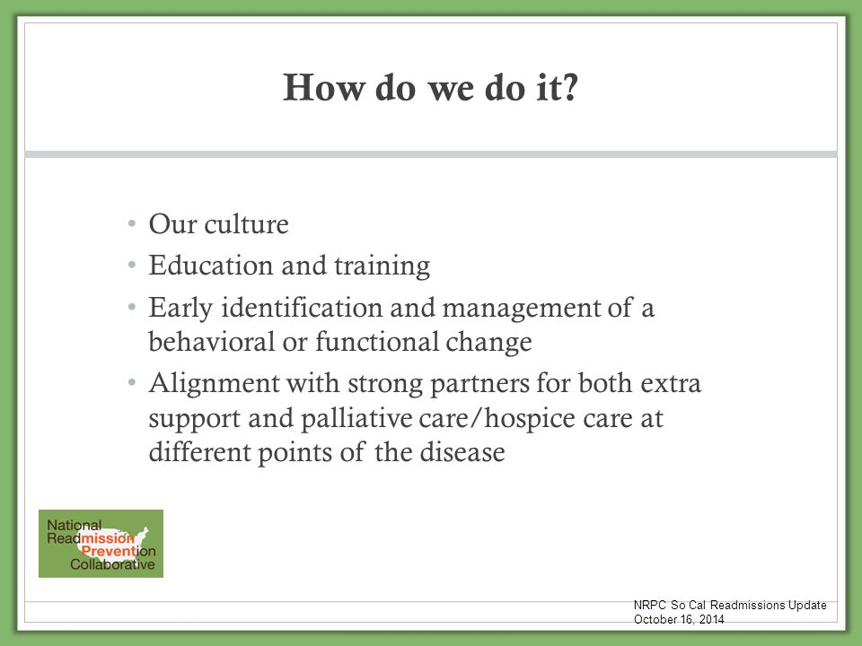 How do we do it Our culture Education and training