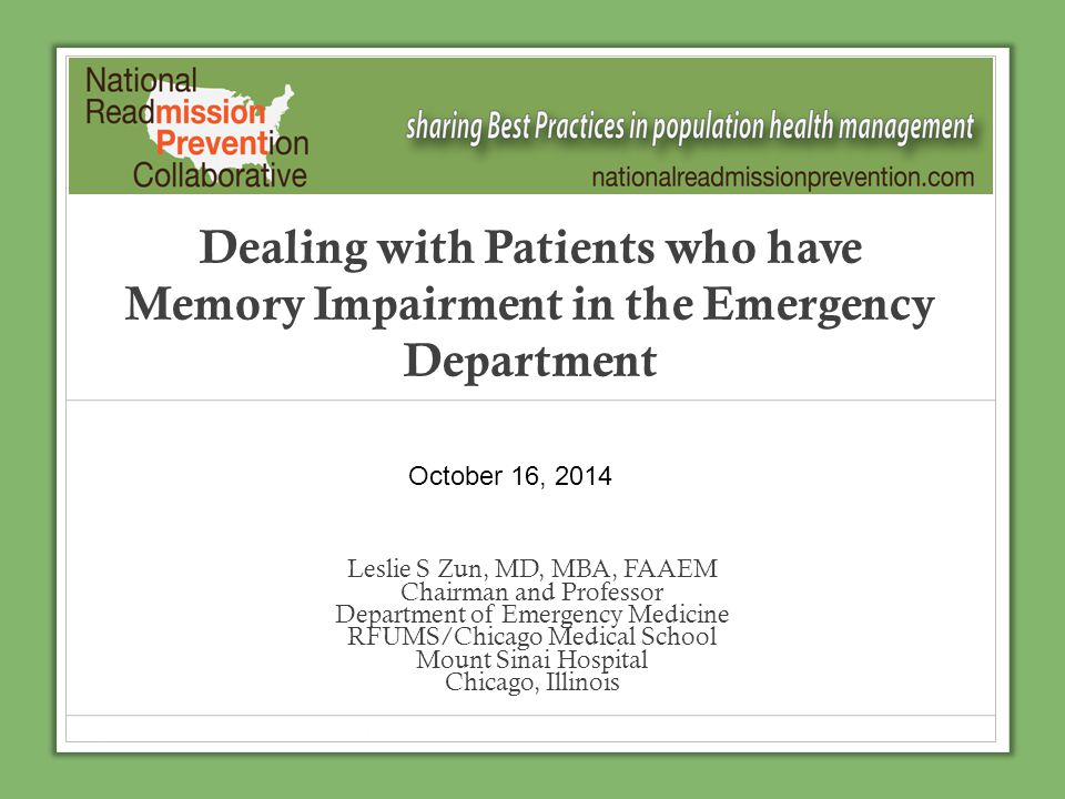 Dealing with Patients who have Memory Impairment in the Emergency Department
