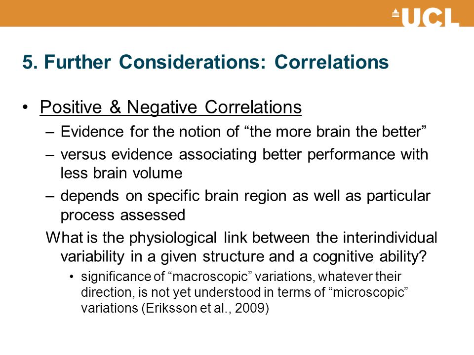 5. Further Considerations: Correlations