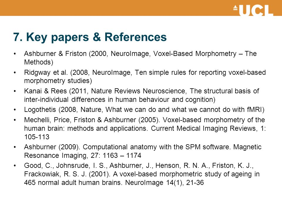 7. Key papers & References
