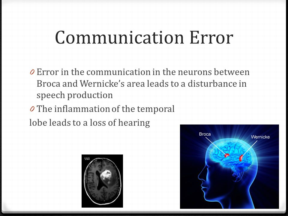 Communication Error Error in the communication in the neurons between Broca and Wernicke's area leads to a disturbance in speech production.