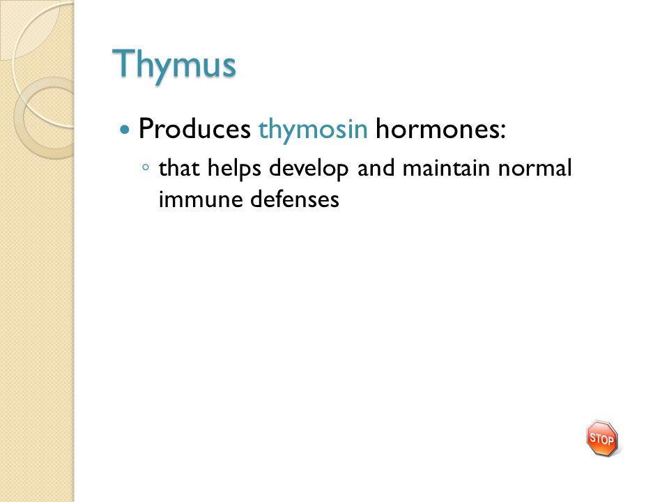 Thymus Produces thymosin hormones: