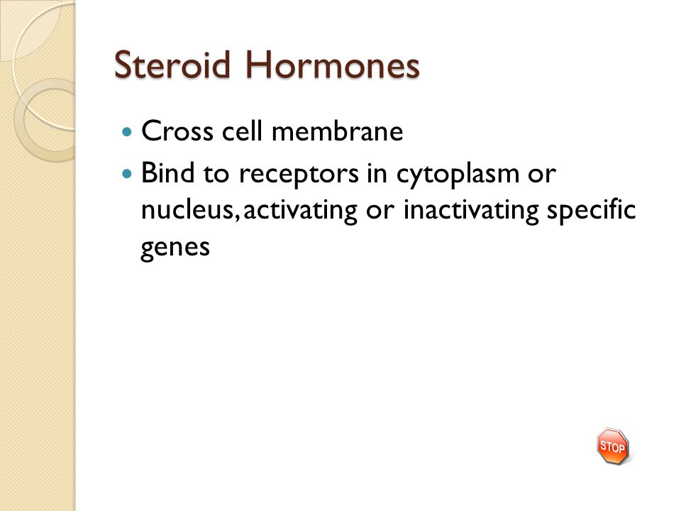 Steroid Hormones Cross cell membrane
