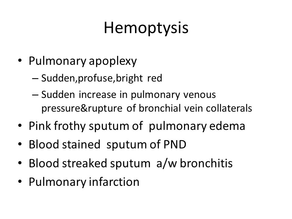 Hemoptysis Pulmonary apoplexy Pink frothy sputum of pulmonary edema