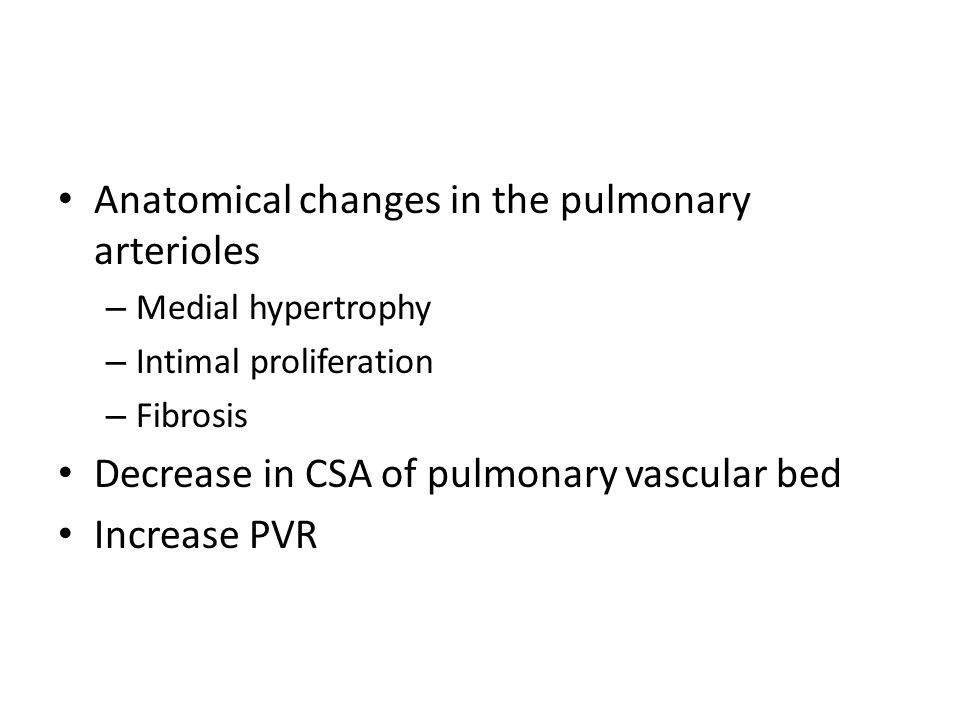 Anatomical changes in the pulmonary arterioles