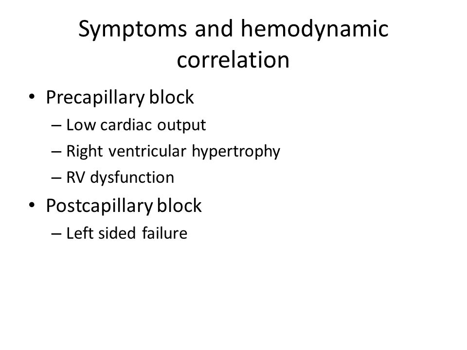 Symptoms and hemodynamic correlation
