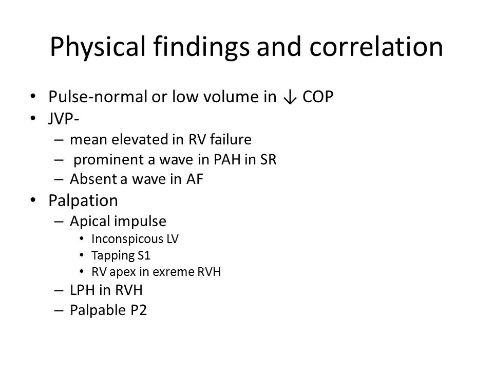 Physical findings and correlation